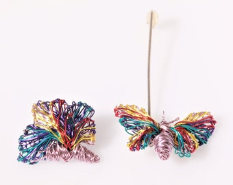 Butterfly earrings, purple, colorful, wire sculpture, different, insect, stud, drop earring, modern hippie, Summer, anniversary gift her