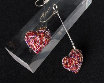 Red heart earrings, long dangle earrings, wire sculpture art jewelry, unusual, modern earrings, valentine's gift for her, anniversary gift