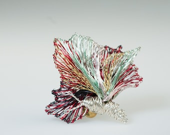 Fairy wire art, butterfly pin, colorful brooch