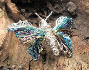 Silver butterfly brooch - art brooch - modern jewellery design art - wire art sculpture jewelry- contemporary art jewelry - unusual jewelry