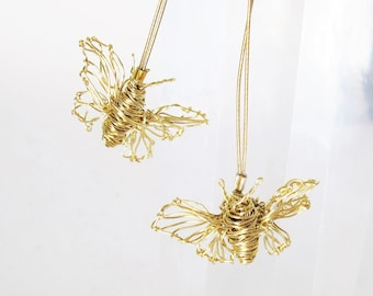 14k gold butterfly earring - fine gold earrings -  contemporary art earrings