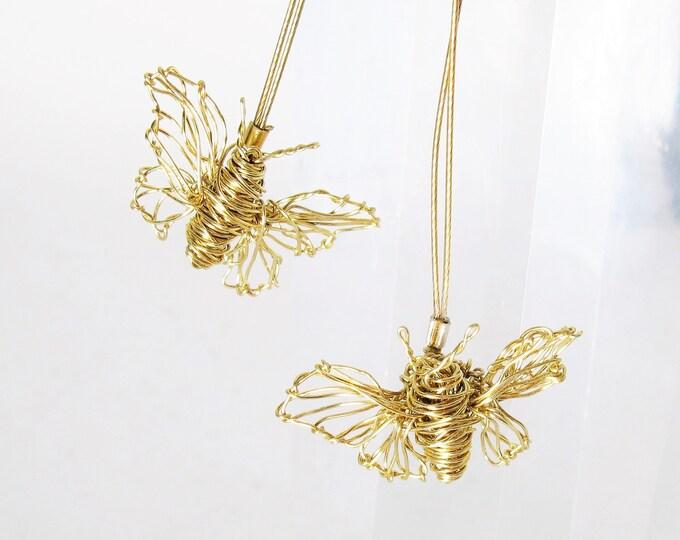 Featured listing image: 14k gold butterfly earring - fine gold earrings -  contemporary art earrings