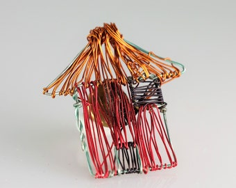 Home pin brooch House jewelry Wire wrapped jewelry handmade Red pin Unusual jewelry Wire sculpture art jewelry Art lover gift House pin