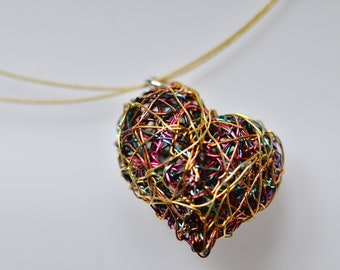Gold heart necklace Wire heart art necklace Sculptural jewelry Cute heart necklace Unusual pendant Modern necklace Unique gifts for women