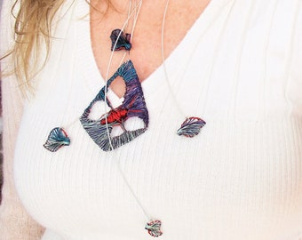 Red+blue butterfly necklace, fairy art jewelry