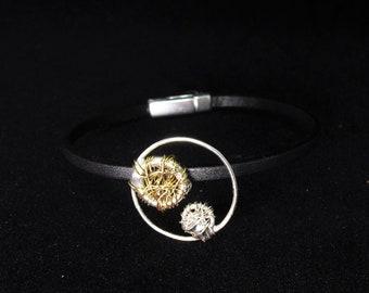 Circle bracelet, gold and silver, leather bracelet