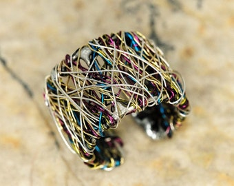 Wire art contemporary ring, wide silver ring, colorful band ring