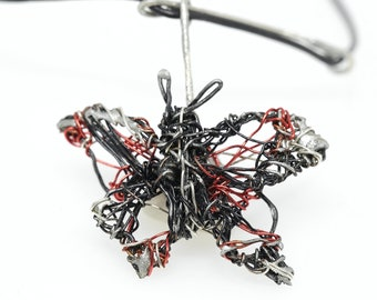 Black butterfly necklace, wire sculpture art necklace hand made, contemporary jewelry