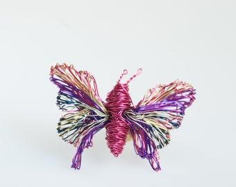 Fuchsia Pink butterfly brooch, Wire wrap sculpture jewelry art, Modern brooch, Unusual insect jewelry