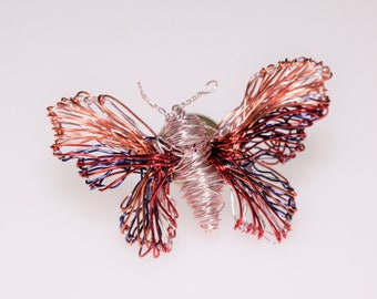Pink butterfly brooch Insect jewelry Pastel butterfly pin Modern jewelry Wire sculpture jewelry Artistic jewelry Art lover gift for her