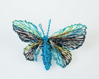 Morpho butterfly pin, wire art, fairy wings