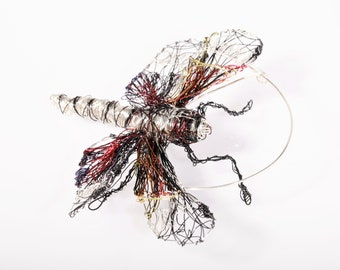 Silver red dragonfly brooch, insect art, bug pin