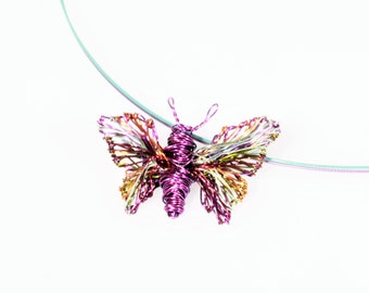 Tiny butterfly sculpture wire art necklace Violet butterfly necklace Butterfly pendant Insect necklace Delicate necklace Modern art jewelry