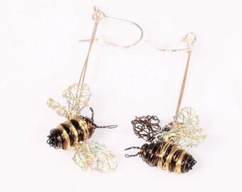 Honey bee earrings, art work, trendy jewelry