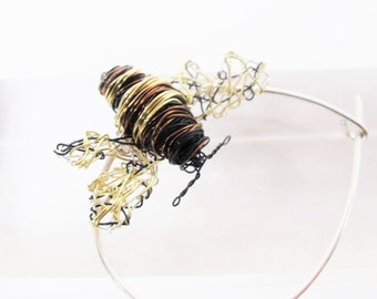 Contemporary art jewelry - honey bee pin - bumble bee brooch - wire bee sculpture