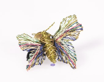 Butterfly brooch, green blue yellow, cute pin, Spring gift women, mothers day gift, nature, unusual, boho, insect, wire wrapped, art jewelry