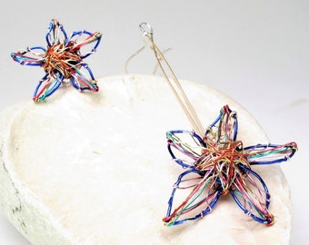 Blue flower earrings, flower art earrings hand made