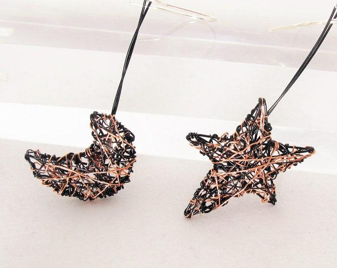Featured listing image: Star moon dangle earrings - mismatched earrings - black copper wire earrings - modern handmade earring - celestial jewelry - art earrings