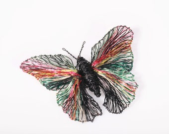 Sculpture wire art, black butterfly pin