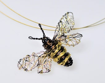 Bee necklace for women, black gold, cute, wire wrapped pendant, modern boho, sculpture, Insect art jewelry, Summer, unique bridesmaid gift