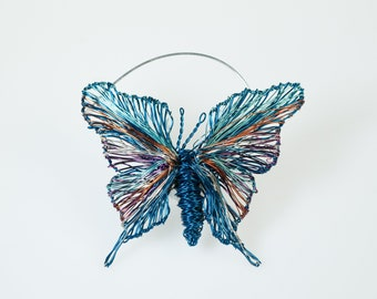 Butterfly brooch art gift, Peacock blue jewelry, Wire sculpture insects, Brooch modern jewelry