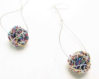 Ball earring drop - long dangle earring - rainbow earring - geometric earring - modern minimalist earring - art earrings - wire ball earring