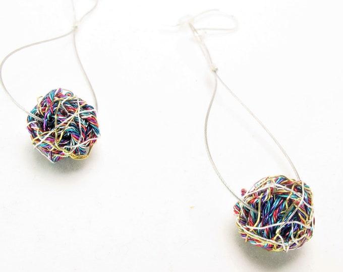 Featured listing image: Ball earring drop - long dangle earring - rainbow earring - geometric earring - modern minimalist earring - art earrings - wire ball earring