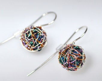 Multicolor earrings, sphere earring, small dangle earring, wire ball earring, unique art earrings, geometric jewelry, modern minimal earring