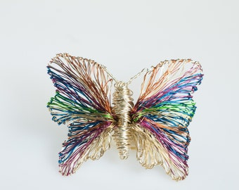 Gold butterfly brooch Rainbow butterfly pin Dress brooch Wire sculpture art pins Modern luxury jewelry Insect jewelry Unique gifts for women