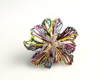 Wire flower sculpture brooch, Metal flower brooch, Abstract flower jewelry art, Unique modern jewelry