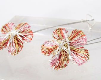 Silver flower earrings dangle - red silver earrings - art handmade earrings - wire flower earrings