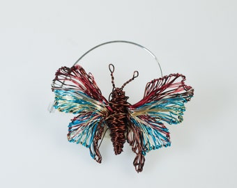 Brown turquoise butterfly pin, insect art jewelry