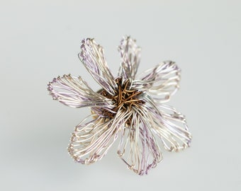 Violet silver flower art pin Modern flower brooch Cute daisy pin Metal Wire sculpture flower Whimsical jewelry Bridesmaids gifts Hippie chic