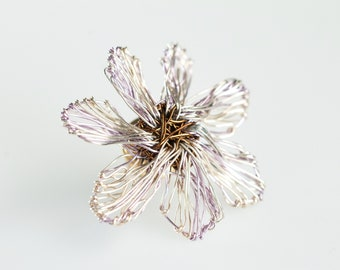 Flower brooch pin cute, wire art, flower jewelry