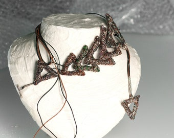 Triangle necklace, wire art, chain link necklace