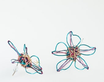Turquoise flower earrings Cute earrings Long stud earrings delicate Wire wrapped earrings Unique Art earrings modern Unusual gifts for her