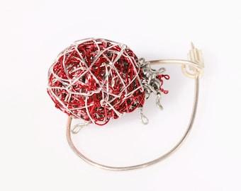 Insect art jewellery - ladybug bug -  ladybug jewelry - ladybird jewelry - red - Spring - girl gift - modern hippie - handmade wire jewelry