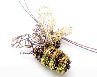 Bee necklace, wire wrapped pendant, black gold, insect necklace, art jewelry, modern boho, Christmas gift, birthday, unique mothers day gift