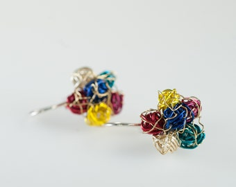 Flower earrings, wire wrap, colorful jewelry