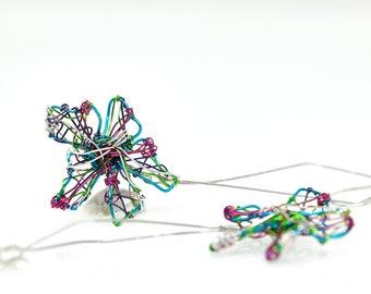 Turquoise flower earrings, sculpture wire art