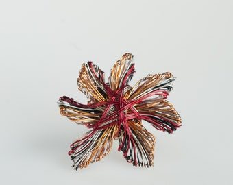 Orange  flower brooch Metal flower sculpture Art pin Cute pin Modern brooch Unusual art jewelry Daisy pin Statement brooch Nature inspired
