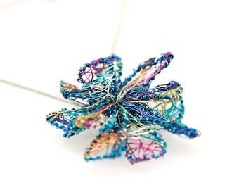 Blue flower necklace Wire flower sculpture Unique Art necklace Interchangeable Modern Geometric Flower pendant Rainbow flower necklace