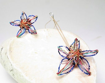 Blue flower earrings studs Rainbow flower earrings dangle Wire wrapped art earrings Unique Mismatched Modern earrings Daisy drop earrings
