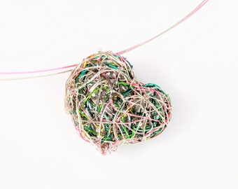 Pink green, wire heart necklace, cute, everyday, heart pendant, modern art jewelry, handmade unique necklace for women,  Christmas gift