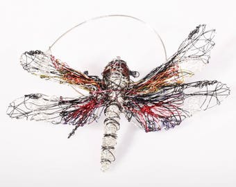 Dragonfly jewelry gift women, wire sculpture art, nature, insect jewelry, large, silver dragonfly brooch, modern hippie, mothers day gift