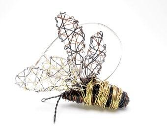 Honey bee sculpture, fairy art, statement brooch