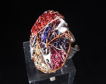 Round ring - wire art jewelry - rainbow ring - big rings - contemporary jewelry - statement ring