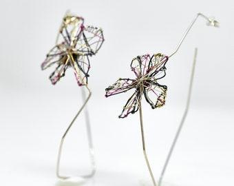 Black flower earrings Silver flower earrings Wire sculpture Art earrings modern Geometric hoop earrings Big hoops Unique gifts for women