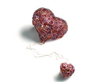 Pink red heart brooch, wearable art jewelry