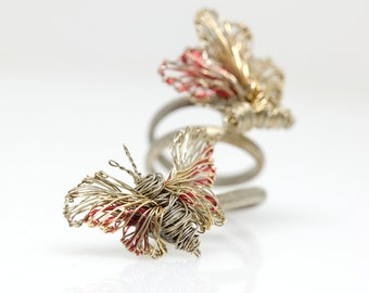14k gold butterfly ring statement, wire art rings, fairy ring gold